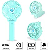 Portable 180°Folding Handheld Fan, 3 Speeds USB Rechargeable Battery for Cooling Fan, Small Desktop Fan with LED Emergency Light for Adolescent, Women and Child (Light Blue)