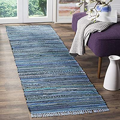 "Safavieh Rag Rug Collection RAR127B Hand-Woven Blue and Multi Flatweave Cotton Runner (2'3"" x 6') - Each rug is Hand made and Hand Woven to add style and durability Each rug is handmade with premium cotton The bright, modern style of this rug will give your room a county cottage feel - runner-rugs, entryway-furniture-decor, entryway-laundry-room - 510645sSw1L. SS400  -"
