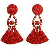 Fashion Women Bohemian Rhinestone Crystal Tassel Fringe Boho Long Earrings Gift ERAWAN (Red)
