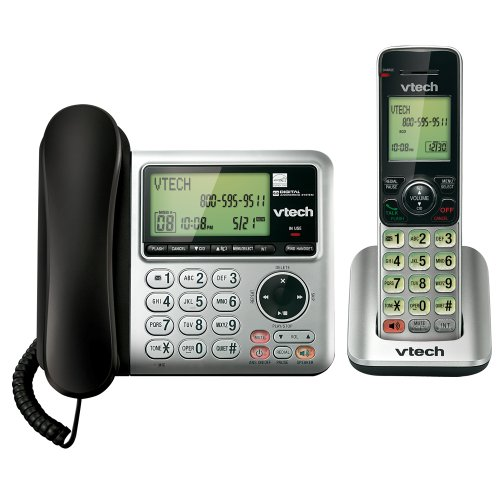 VTech CS6649 DECT 6.0 Expandable Corded/Cordless Phone with Answering System and Caller ID/Call Waiting, Silver/Black with 1 Handset(packaging may vary)