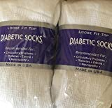 White Diabetic Socks, Crew Style, MEN Size 10-13, 1 dozen Pairs