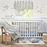 Brandream Rainbow Unicorn Crib Bedding Set with Bumpers Gray Pink Baby Bedding Girls Boys Nursery 100% Cotton, 9 Pieces