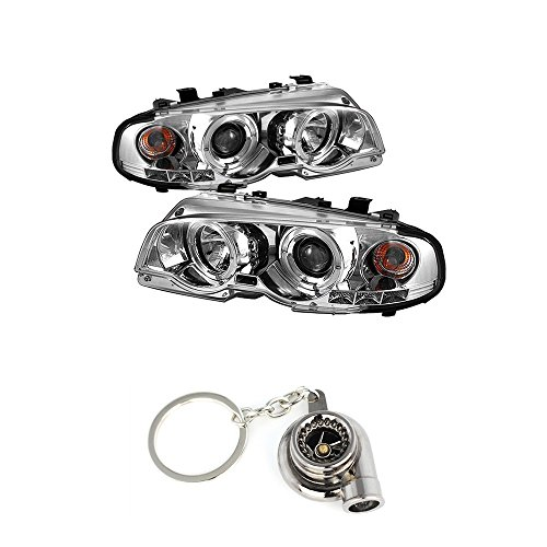 (BMW E46 3Series 2DR / M3 2DR 1PC Projector Headlights LED Halo LED Chrome Housing With Clear Lens + Free Gift Key Chain Spinning Turbo Bearing)