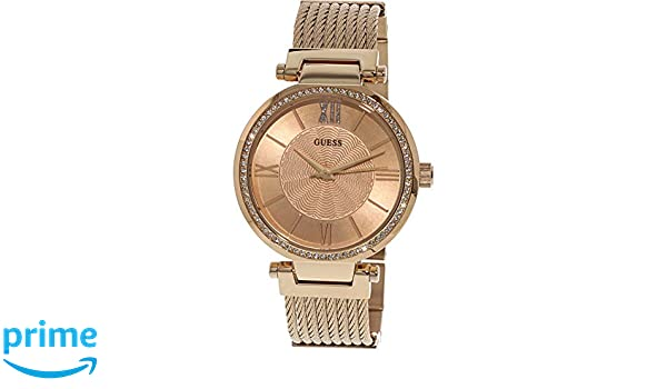 Amazon.com: Guess Soho Rose Gold Dial Stainless Steel Ladies Watch W0638L4: Guess: Watches