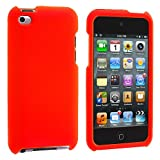 Premium Rubberized Snap-on Hard Crystal Front and Rear Case Cover for Apple iPod Touch 4G, 4th Generation, 4th Gen - orange compatible with 8GB / 32GB / 64GB