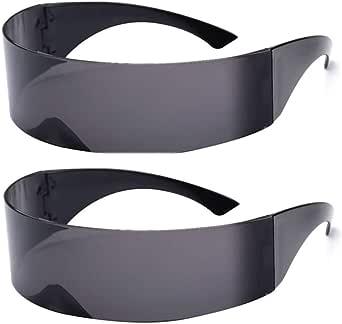 2 Pack Futuristic Cyclops Monoblock Shield Mirrored Sunglasses Sunglass Glasses