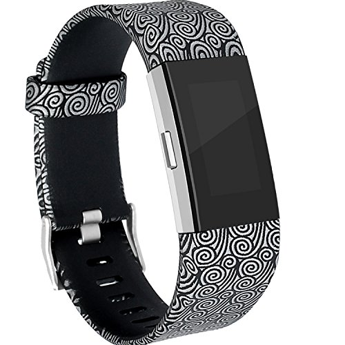RedTaro Bands Compatible with Fitbit Charge 2, Replacement Accessory Wristbands Silver Swirls