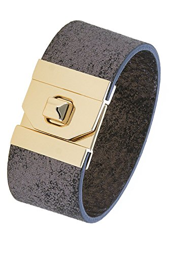 KARMAS CANVAS THICK GENUINE LEATHER TURN LOCK BRACELET - Karma Bracelet Leather