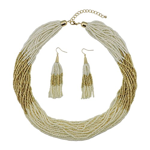 Bocar Multi Layer Beaded Statement Necklace Set Mix Strand Necklace and earrings for Women Gift (NK-10459-Cream white+gold+Creamy yellow)