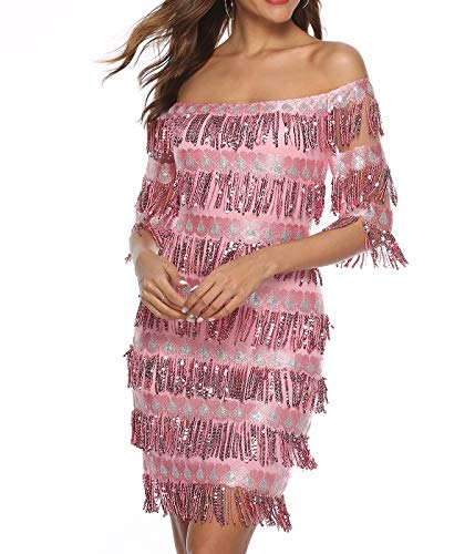 Zshujun Women's Off Shoulder Slash Neck Fringe Sequin Party Mini Dress 2523 (Rose, ()
