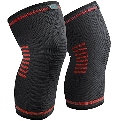 Sable Knee Brace, Compression Sleeve FDA Approved, Support for Arthritis, ACL, Running, Biking, Basketball Sports, Joint Pain Relief, Meniscus Tear, Faster Injury Recovery, Medium (15.5-19), 2 Piece