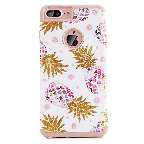 Christmas Cases Compatible iPhone 7 Plus, Pineapple Marble Hard PC Soft Rubber Anti-Scratch Shock Proof Protective Case Cover (Clear) ()