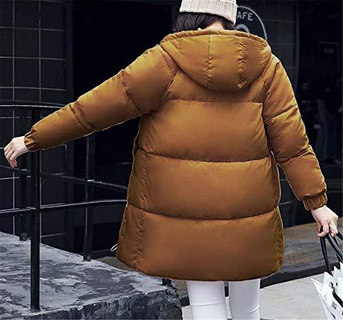 Coffee Manga Espesar Mode Termica Mujer Largos Pluma Bolawoo Invierno Elegante Abrigo Marca Parkas De Encapuchado Larga Plumas Informales Acolchado xYwfU87