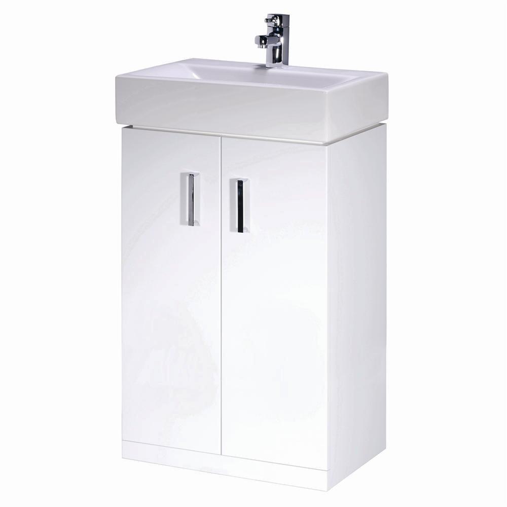Minimalist gloss white vanity unit 600 800 or 1000mm - Chatham 450mm Bathroom Floor Standing Two Soft Close Door Gloss White Storage Vanity Unit Chrome Handles With Ceramic Basin Sink For Bathroom Cloakroom En