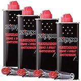 Zippo Lot de 4 recharges d'essence Original Zippo + 4 pierres à briquet