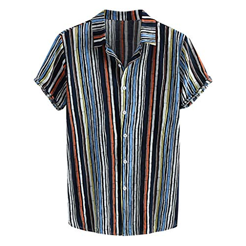 (Men's Hawaii Striped Print Top, MmNote Casual Button Loose Quick-Dry Cool Quick Soft Lightweight Short Sleeve Blue)