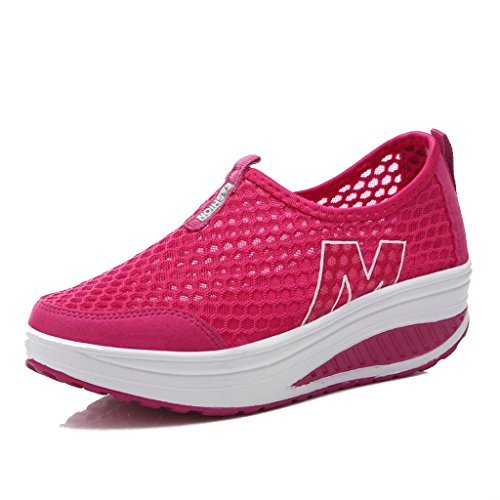 L LOUBIT Women Sneakers Comfort Slip On Wedges Shoes Breathable Mesh Walking Shoes for Women 3308 Red 38 by L LOUBIT