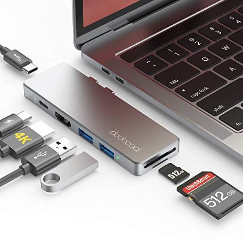 Haz clic aquí para comprobar si este producto es compatible con tu modelo ★MacBook Pro / Air 7 en 2 Hub: adaptador Macbook Pro / Air todo en uno con Thunderbolt 3, 1 * puerto Tipo C, 1 * puerto HDMI 4K, 2 puertos USB 3.0, 1 * SD y 1 * tarjeta Micro SD lector, puede hacer más que la mayoría de los adaptadores USB C multifunción integrados en el mercado. ★Thunderbolt 3 Función: Thunderbolt 3 Admite hasta 5K a 60Hz de salida de video; Transferencia rápida de datos a velocidades de hasta 40 Gbps, que es mucho más rápido que Thunderbolt 2 y USB 3.0 A, y Max 100W de Power Delivery para cargar MacBook Pro a toda velocidad.