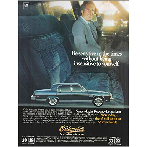 (RelicPaper 1982 Oldsmovile Ninety-Eight Regency Brougham: Be Sensitive, Oldsmobile Print Ad)