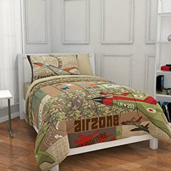 Amazon Com 5pc Boy Green Brown Camouflage Airplane