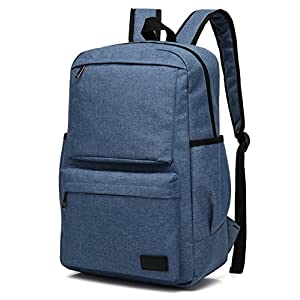 Mn&Sue Lightweight Large Capacity Canvas Backpack Computer Bag with Laptop Sleeve Rucksack for Travel College School Outdoor Sports Hiking Camping Weekend