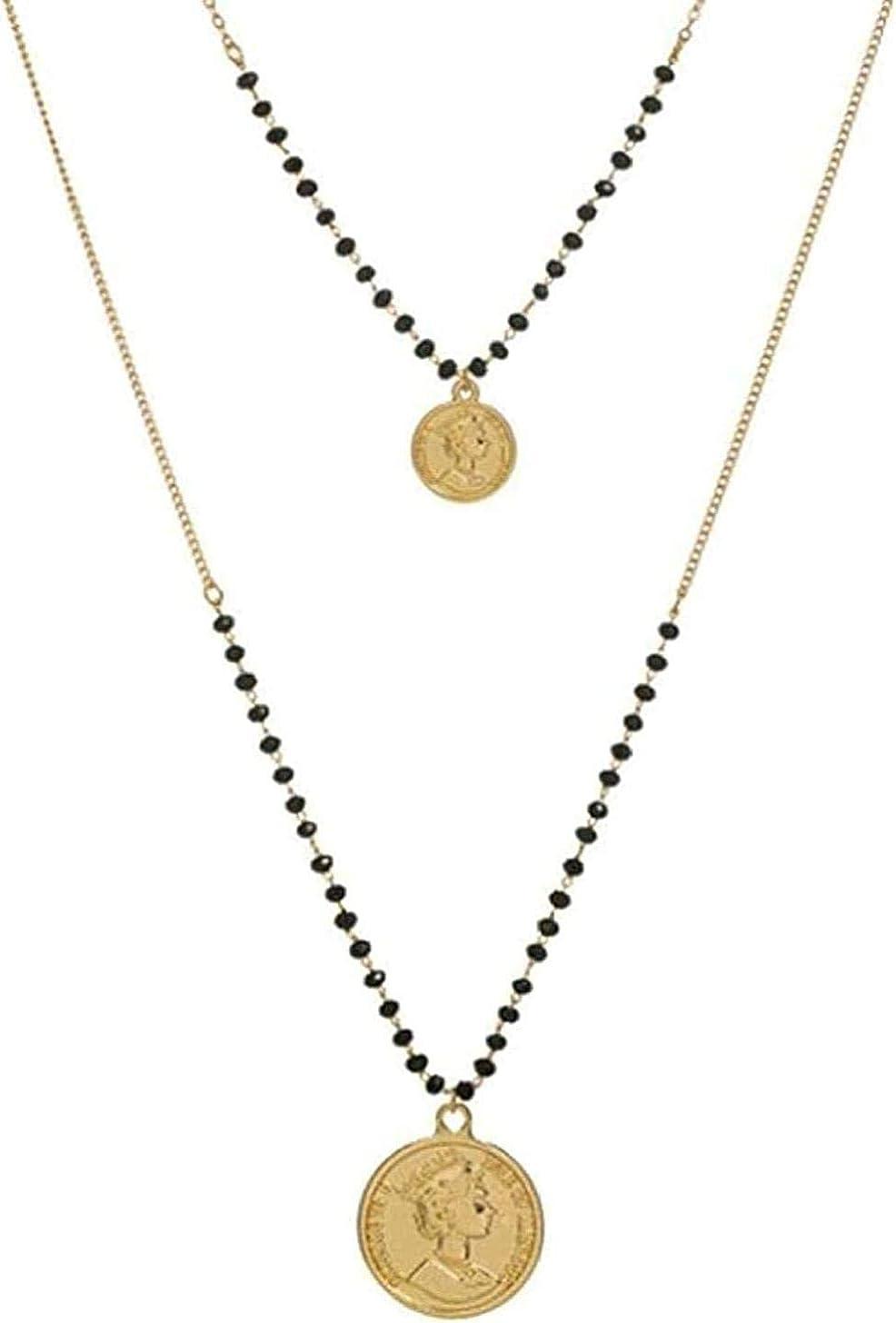 Yaoliangliang Collar con Colgante de Reina, Cuentas de Resina Negra Multicapa, Cara de Piedra Natural, Cadena de Estrella de Luna para Mujer