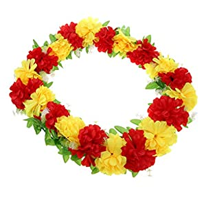 Prettyia Simulation Silk Chrysanthemum Flower Cemetery Flower Wreath Tombstone Flower Decor - Red Yellow 10