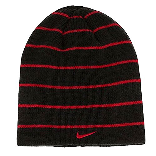 Nike Youth Stripped Swoosh Beanie Hat - One Size - Black - Red