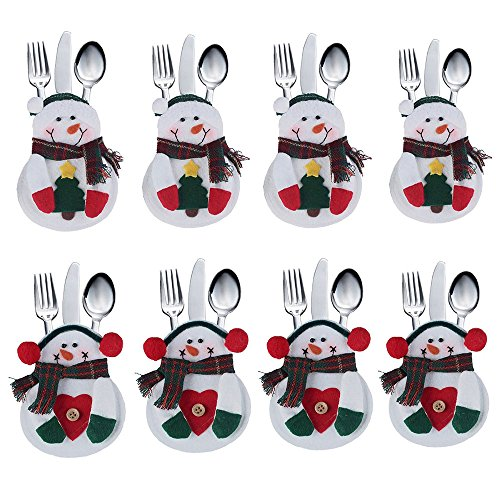 (DegGod 8Pcs Christmas Tableware Holders Set, White Snowman Knife and Fork Bags Covers for Xmas Party Dinner Table Decorations Ornaments (Snowman))