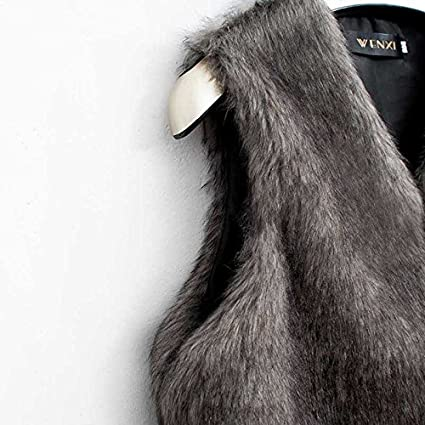 Amazon.com: Besde Womens Faux Fur Vest Sleeveless Long Hair Jacket Waistcoat