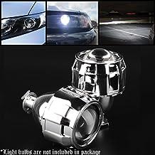 Pair Mini Bi-Xenon Projector Lens Headlight H1 H4 H7 H11 H13 With Chrome Shroud