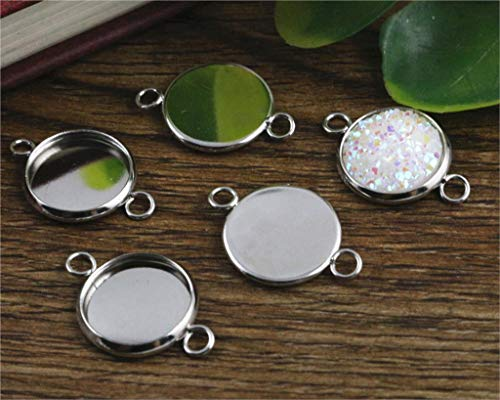 Pendant Trays - 50pcs 12mm Inner Size Bright Silver Rhodium Rose Gold Colors Plated Iron Material Fit 12mm Cabochons Pendant Tray