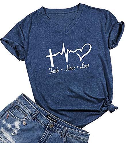Beopjesk Womens Faith Hope Love T-Shirt Summer V-Neck Short Sleeve Graphic Tee Tops (XL, Navy)