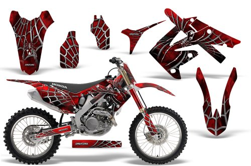 CreatorX Honda Crf250 & Crf450 Graphics Kit Decals Stickers SpiderX Red Incl. Number Plate Graphics