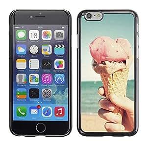 FlareStar Colour Printing Ice Cream Sun Summer Pink Cone Beach cáscara Funda Case Caso de plástico para Apple (4.7 inches!!!) iPhone 6