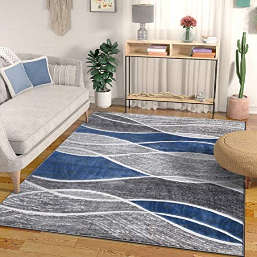 Well Woven Swell Blue Modern Geometric High-Low Pile Area Rug 8×10 7 10 x 9 10 Abstract Stripes Carpet
