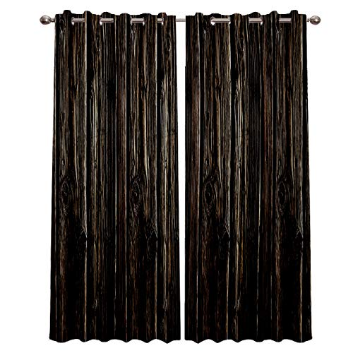 ZOE STORE Blackout Window Curtains for Kitchen, Retro Wood Grain 2 Panel Window Treatments/Drape for Kids Room/Living Room/Cafe/Bedroom, 104W x 52L inch