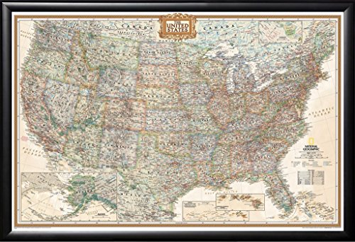USA National Geographic United States Executive Map Black Detail Wood Frame with Push Pins