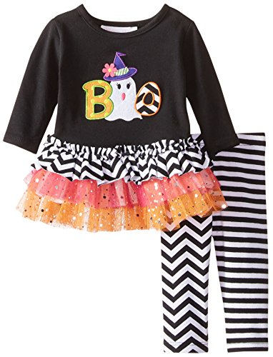 (Bonnie Baby Baby-Girls Halloween Appliqued Legging Set, Black, 3-6)