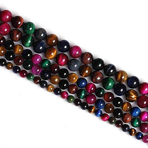 Tiger Eye Star - Excellent Red Yellow Gold Blue Green Rose Multi Tiger Eye Stone Beads Natural Stone Loose Beads For Jewelry Making 6MM 8MM 10MM 12MM By Ruilong (8MM, Multi)