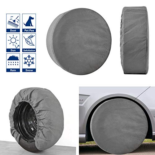 "VIEFIN Set of 4 Wheel Tire Covers, Waterproof UV Sun RV Trailer Tire Protectors, Fit 30″ to 32″ Truck Camper Van Auto C(Gray,Fit 30"" to 32"" Tire Diameter)"