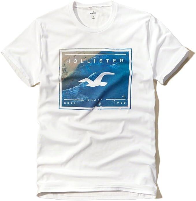 Hollister - Camiseta - para hombre Blanco blanco S: Amazon.es: Ropa y accesorios
