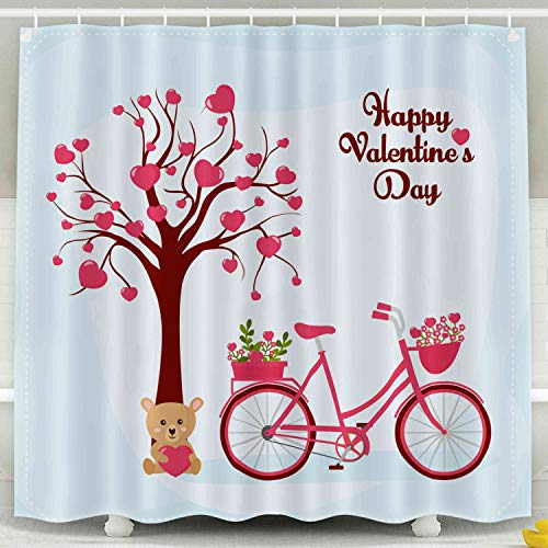 Musesh Fabric Shower Curtain,Kids Shower Accessories, 78x72 Inch Shower Curtain Home Decoration Set with Hooks Day Greeting Card Cute Tree Bike Flowers Bouquet Teddy Bear