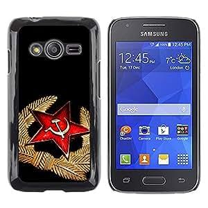 TopCaseStore / la caja del caucho duro de la cubierta de protección de la piel - Black Red Medal Star Cap Russia - Samsung Galaxy Ace 4 G313 SM-G313F