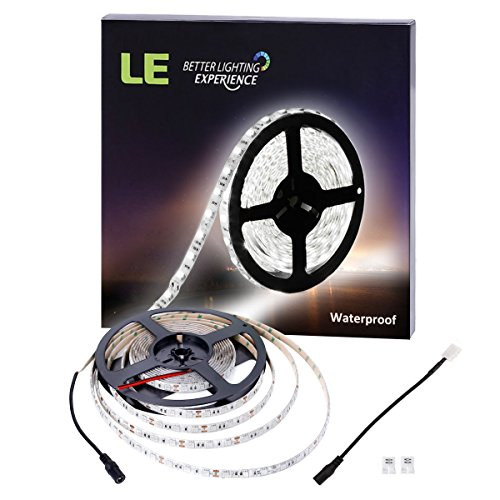 LE 16.4ft 300 Units SMD 5050 LED Flexible Light Strip, 6000K Daylight White, 12V, Waterproof, Outdoor Indoor Home Garden Kitchen Bar Party Christmas Holiday Festival Celebration Decoration