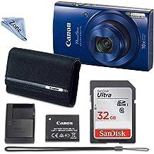 [Patrocinado] Canon PowerShot ELPH 190–Cámara digital (Azul) con memoria de 32GB + Canon PSC-2070Case + Gamuza de zona de lino