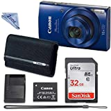 Canon PowerShot ELPH 190 Digital Camera (Blue) with 32GB Memory + CANON PSC-2070 CASE + Linen Zone CLOTH