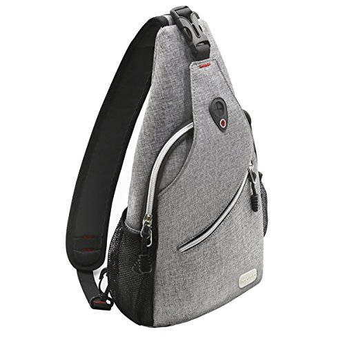 MOSISO Sling Backpack, Multipurpose Crossbody Shoulder Bag Travel Hiking Daypack, Gray]()