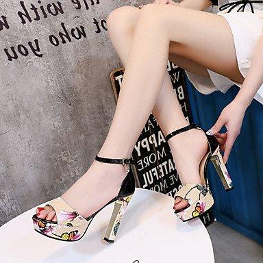 LvYuan Mujer Sandalias Confort Cuero Patentado Primavera Verano Vestido Fiesta y Noche Confort Pedrería Hebilla Tacón Robusto Blanco Negro Rojo Black