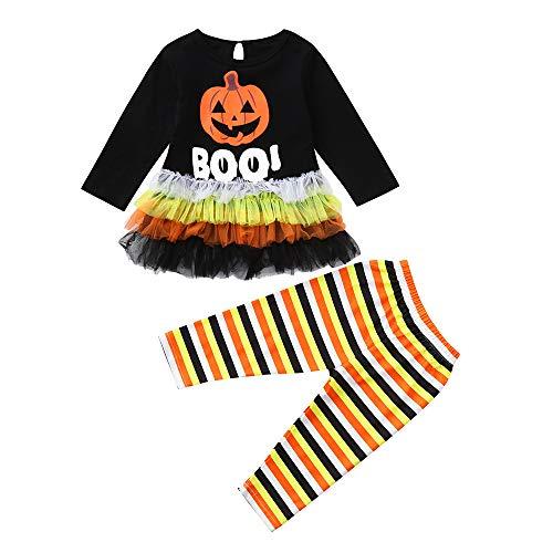 Toddler Girls Long Sleeve Pumpkin Letter Print Tops+Pants Halloween Baby -